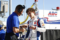 February 9, 2018 - Avondale, Arizona, United States of America - February 09, 2018 - Avondale, Arizona, USA: Matheus Leist (4) talks with a crew member prior to taking to the track for the Prix View at ISM Raceway in Avondale, Arizona. (Credit Image: © Justin R. Noe Asp Inc/ASP via ZUMA Wire)