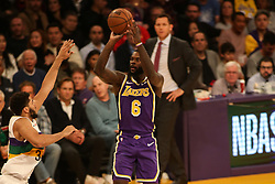 February 27, 2019 - Los Angeles, CA, U.S. - LOS ANGELES, CA - FEBRUARY 27: Los Angeles Lakers Forward Lance Stephenson (6) shoots during the first half of the New Orleans Pelicans versus Los Angeles Lakers game on February 27, 2019, at Staples Center in Los Angeles, CA. (Photo by Icon Sportswire) (Credit Image: © Icon Sportswire/Icon SMI via ZUMA Press)