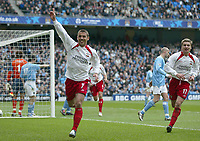 Photo. Andrew Unwin, Digitalsport.<br /> Manchester City v Southampton, FA Barclaycard Premier League, City of Manchester Stadium, Manchester 17/04/2004.<br /> Southampton's Kevin Phillips (c) wheels away after scoring his team's second goal.