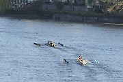 Chiswick. London. Barnes Bridge ladies RC/Burway RC/ Fredensborg/Medway Towns RC/Maidenhead RC/Thames RC/Walbrook RC. [Masters F], approach the start of the 2011 Women's Head of the River Race, Mortlake to Putney, looking from Chiswick Bridge.   Saturday  19/03/2011 [Mandatory Credit; Peter Spurrier/Intersport-images]