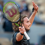 PARIS, FRANCE October 07.  Stefanos Tsitsipas of Greece celebrates his victory against Andrey Rublev of Russia in the Quarter Finals of the singles competition on Court Philippe-Chatrier during the French Open Tennis Tournament at Roland Garros on October 7th 2020 in Paris, France. (Photo by Tim Clayton/Corbis via Getty Images)