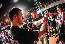 Tommy Blom demonstrates to students a knife defence exercise. IKMS 'In The Club' seminar with KMG Global Team Instructor and Expert Level 5, Tommy Blom, at the Buff Club in Glasgow's City Centre. Bringing Krav Maga training out with the confines of the gym into a real nightclub/bar.<br /> © Michael Schofield.
