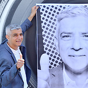 Sadiq Khan, Mayor of London, celebrates London hosting of UEFA EURO 2020 including both semi finals and the final with thousands of poster laid along Tower Bridge on 13th June 2021, London, UK