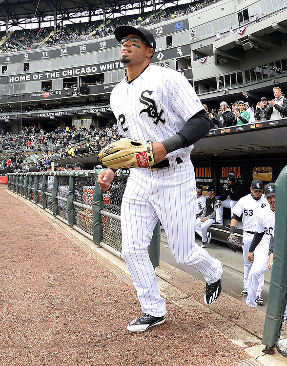 CHICAGO - APRIL 04:  Jacob May #32 of the Chicago White Sox runs out onto the field prior to the game against the Detroit Tigers on April 04, 2017 at Guaranteed Rate Field in Chicago, Illinois.  The Tigers defeated the White Sox 6-3.  (Photo by Ron Vesely)   Subject:  Jacob May