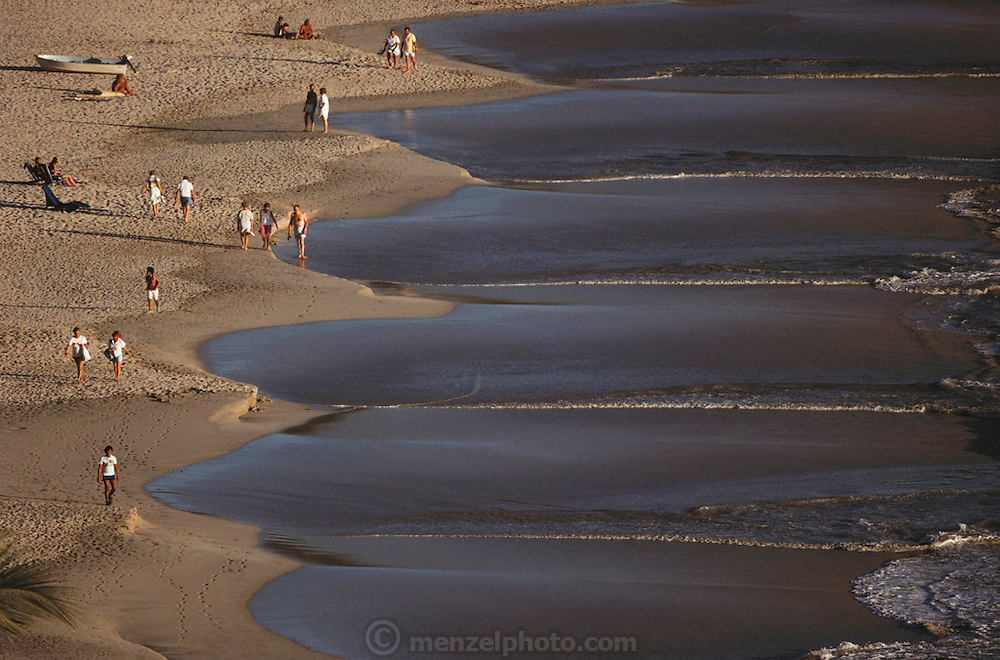 Telephoto shot of the beach in Zihuatanejo, Mexico.