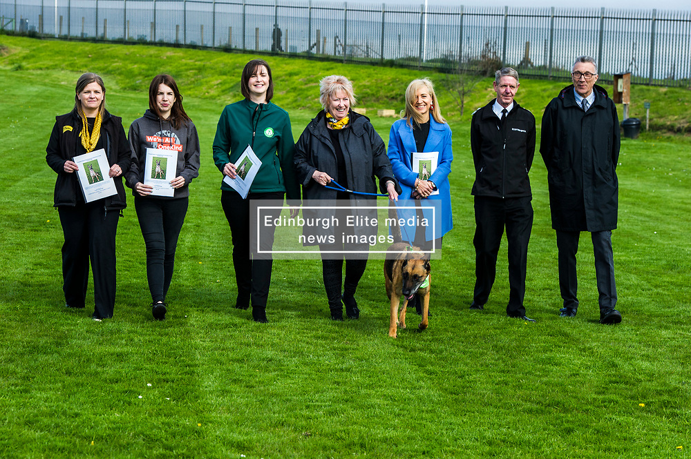 Pictured: Jennifer Terris (Yellow lanyard), Dogs Trust, Sarah Moyes, Onekind, Lindsay Fyffe (green top), Edinburgh Dog and  Cat Home, Christine Grahame, Sasha, Kirsteen Campbell, Chief Executive Scottish SCPA (Blue coat), Dick Morrison Kennel Club and Scottish Kennel Club and Mike Flynn Chief Superintendent SSPCA (glasses)<br /> <br /> SNP MSP Christine Grahame was joined at Edinburgh Cat and Dog home by animal welfare organisations and eight-year-old Dutch Shepherd Sasha to highlight her members bill to curb irresponsible dog breeding and buying. <br /> Ger Harley   EEm 4 May 2018