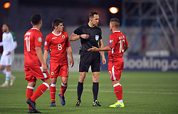 Referee Anastasios Papapetrou during the UEFA Euro 2020 Qualifying, Group D match at the Victoria Stadium, Gibraltar.