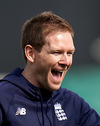 England's captain Eoin Morgan during the nets session at The Kia Oval, London.