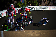 #91 (WILLOUGHBY Sam) AUS and  #11 (FIELDS Connor) USA at the 2013 UCI BMX Supercross World Cup in Chula Vista