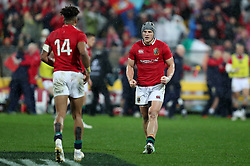 British and Irish Lions' Jonathan Davies (right) and Anthony Watson celebrate winning the second test of the 2017 British and Irish Lions tour at Westpac Stadium, Wellington.