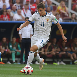 July 1, 2018 - Moscow, Russia - July 01, 2018, Russia, Moscow, FIFA World Cup 2018, the playoff round. Football match Spain - Russia at the stadium Luzhniki. Player of the national team Roman Zobnin. (Credit Image: © Russian Look via ZUMA Wire)
