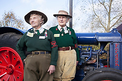 © Licensed to London News Pictures.21/10/2014. National Memorial Arboretum, Alrewas, Staffordshire, UK. Dedication of the Women's Land Army and Women's Timber Corps memorial at the National Memorial Arboretum in the presence of HRH The Countess of Wessex. Pictured, Land Girls, Iris Newbould and Dorothy Taylor. Photo credit : Dave Warren/LNP