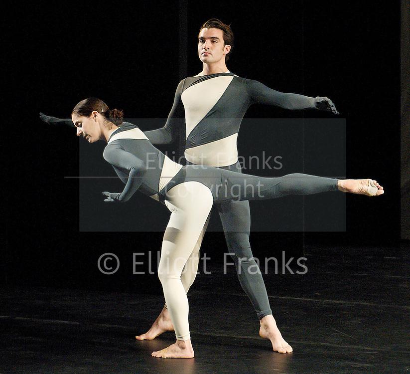 Nearly Ninety<br /> The Merce Cunningham Dance Company <br /> choreography by Merce Cunningham<br /> at The Barbican Theatre, London, Great Britain <br /> rehesrsal <br /> 26th October 2010 <br /> <br /> Silas Riener<br /> Jennifer Coggans<br /> <br /> <br /> <br /> Photograph by Elliott Franks<br /> 2010©Elliott Franks