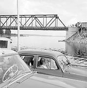 Car ferry with bridge under construction Finland 1959