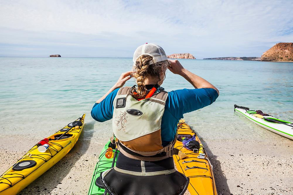 Time to head out. Sea Kayaking, Baja, Isla Espiritu Santo, Mexico.