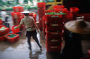 While still a British colony, a 1990s market shallholder drags a load of vegetable items in baskets in the New Territories, on 21st April 1995, in Hong Kong, China.