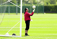 Photo: Greig Cowie<br /> FA Cup week. Arsenal Training 15/05/2003<br /> David Seaman cuts a lonely figure as the rest of his team mates take part in a training match