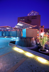 Stock photo of the Jones Plaza Fountain and Downtown Houston Skyline at Night