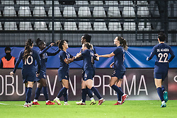 Team of France celebrating theri second goal during football match between Slovenia and France in 2nd round of Women's world cup 2023 Qualifying round on 21 of September, 2021 in Mestni stadion Fazanerija, Murska Sobota, Slovenia. Photo by Blaž Weindorfer / Sportida