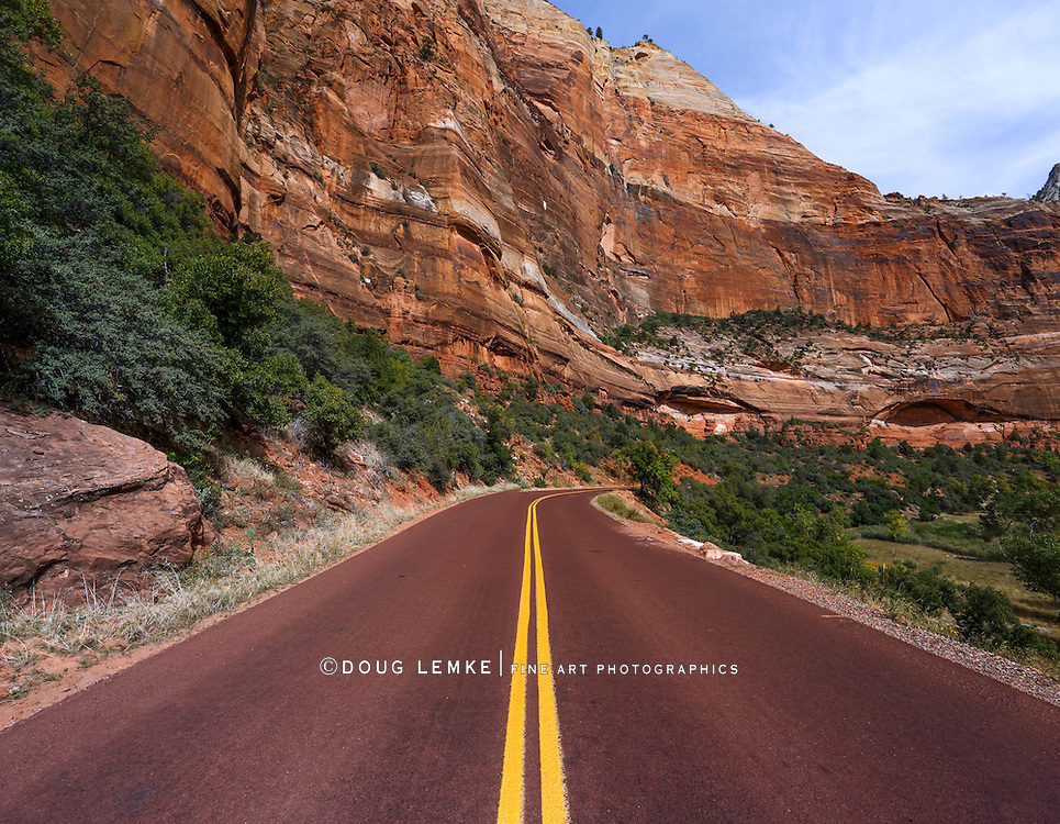 The road through Zion National Park, Utah, USA