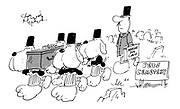 In a pet cemetery, a cortege of dogs from Marvo's Dog Circus carry a fellow dog's coffin at its funeral.