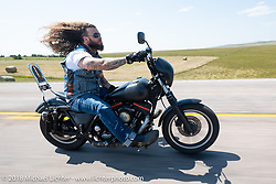 Aron Bowen on the Cycle Source Ride during the 78th annual Sturgis Motorcycle Rally. Sturgis, SD. USA. Wednesday August 8, 2018. Photography ©2018 Michael Lichter.