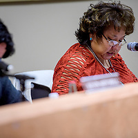 Priscilla Manuelito makes remarks during the Gallup McKinley County Schools board meeting at the Student Support Center in Gallup Monday.
