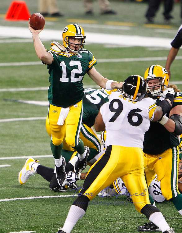 Green Bay Packers Aaron Rodgers SBXLV MVP during the Packers' 31-25 win over the Pittsburgh Steelers in the NFL Super Bowl XLV football game Sunday, Feb. 6, 2011, in Arlington, Texas<br />  (AP Photo/Tom DiPace)