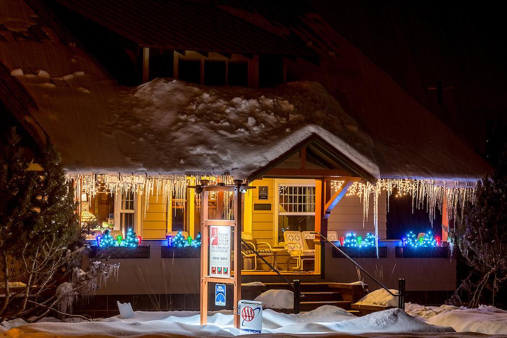 Winter's night at the Bronze Antler Bed & Breakfast in Joseph, Oregon.