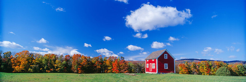 Little red lodge in the countryside near Stanstead, Quebec state, Canada