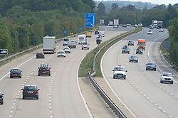 ©Licensed to London News Pictures 24/08/2020  Ashford, UK. Traffic near junction 9 for Ashford today. Work is due to start next month setting up operation Brock on the M20 motorway between junctions 8 and 9 in Kent as disruption is feared once the Breixt transition period ends on December 31st. The Department for Transport is preparing to install a moveable concrete barrier which will be stored on the hard shoulder ready for use. A contraflow system will be in place which will see the coast bound side of the motorway used for HGV's heading for Dover and the London bound side for all other traffic.  Work is due to start on September 1st.  Photo credit: Grant Falvey/LNP