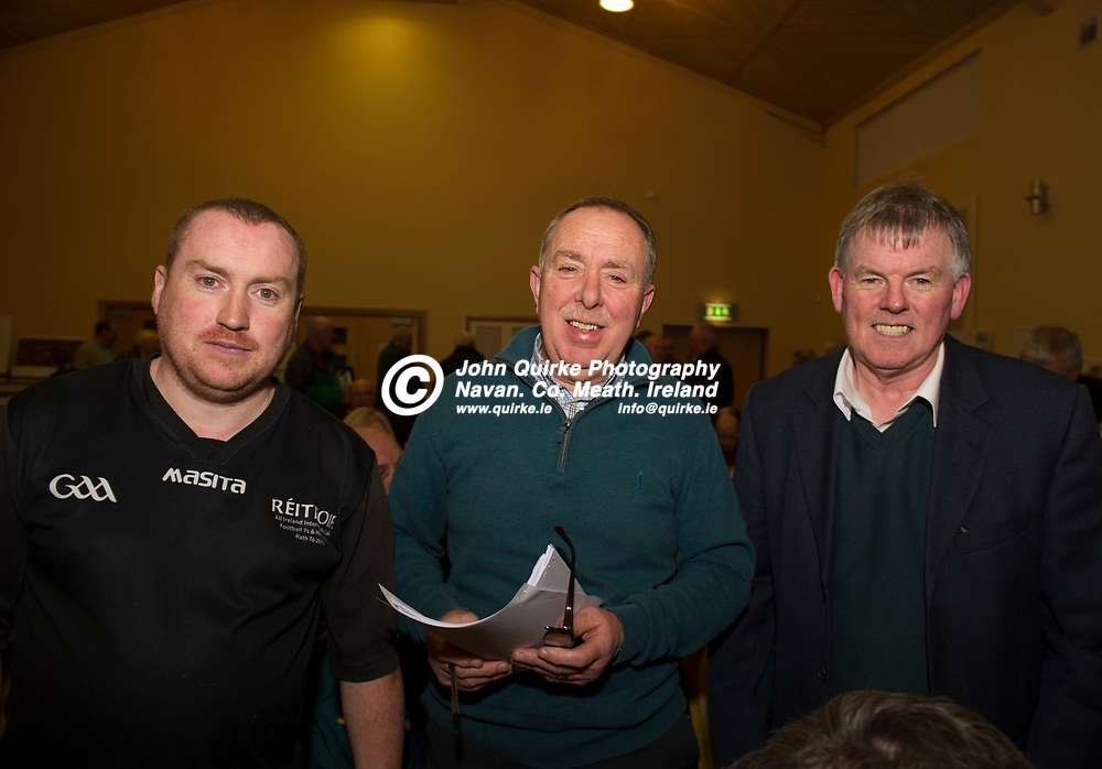11-12-17. Meath GAA Annual Convention at Navan O'Mahony's GAA Clubhouse, Navan.<br /> Delegates in attendance at the Annual Convention from left, Patrick Nelis, Paddy O'Rourke and Declan Black, Kilmainham.<br /> Photo: John Quirke / www.quirke.ie<br /> ©John Quirke Photography, Unit 17, Blackcastle Shopping Cte. Navan. Co. Meath. 046-9079044 / 087-2579454.