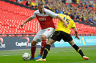 Fleetwood Town's  Jon Parkin (l) holds the  ball from Burton Albion's Callum McFadzean.  Skybet football league two play off final match , Burton Albion v Fleetwood Town at Wembley Stadium in  London on Monday 26th May 2014.<br /> pic by John Patrick Fletcher, Andrew Orchard sports photography.
