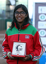 Sneha Kotecha of Kenya celebrates with her trophy after winning the 1st position during their 14th African Nations Cup (CAN) under 14 masters 2016 on the Final day at Nairobi Club on November 13, 2016. Photo/Fredrick Onyango/www.pic-centre.com (KEN)