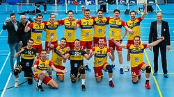 Team Draisma Dynamo after the 3-0 win in the semi cupfinal between Sliedrecht Sport vs. Draisma Dynamo on April 03, 2021 in sports hall De Basis, Sliedrecht