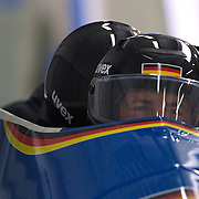 Winter Olympics, Vancouver, 2010.Germany-1 Four man Bobsligh pilot Andre Lange during the Bobsleigh Four-man competition at The Whistler Sliding Centre, Whistler, during the Vancouver Winter Olympics. 27th February 2010. Photo Tim Clayton