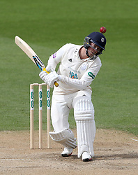 Hampshire's Sam Northeast ducks under a bouncing ball during the Specsavers County Championship Division One match at the Kia Oval, London. PRESS ASSOCIATION Photo. Picture date: Monday April 23, 2018. See PA story CRICKET Surrey. Photo credit should read: John Walton/PA Wire. RESTRICTIONS: Editorial use only. No commercial use without prior written consent of the ECB. Still image use only. No moving images to emulate broadcast. No removing or obscuring of sponsor logos.