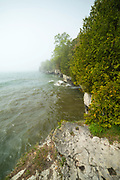 An overcast morning at Cave Point County Park, Door County, Wisconsin.