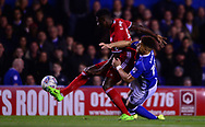 Che Adams of Birmingham battles with Bruno Ecuele Manga of Cardiff City  .EFL Skybet championship match, Birmingham city v Cardiff city at St.Andrew's stadium in Birmingham, the Midlands on Friday 13th October 2017.<br /> pic by Bradley Collyer, Andrew Orchard sports photography.