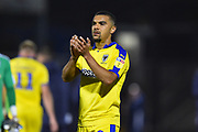 Kwesi Appiah (9) of AFC Wimbledon applauds the travelling fans at full time after Wimbledon lost 2-0 to Bristol Rovers during the EFL Sky Bet League 1 match between Bristol Rovers and AFC Wimbledon at the Memorial Stadium, Bristol, England on 23 October 2018.