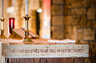 Scripture from John 6:35 in the altar at Family of Christ Lutheran Church, Houlton, Wis., on Sunday, Feb. 14, 2021. LCMS Communications/Erik M. Lunsford