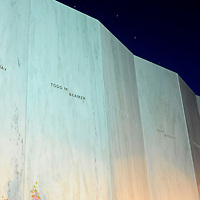 """Forty candles in lanterns line the """"Wall of Names at the Flight 93 National Memorial near Shanksville,  Pennsylvania on September 10, 2013.  UPI/Archie Carpenter"""