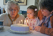 Elderly Aunt and 3-year old share birthdays and birthday cake and candles. Grandmother encourages child to blow.