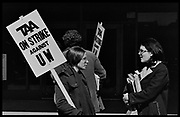 Madison, WI - March 1970. On March 15, 1970, the University of Wisconsin - Madison Teaching Assistants' Association voted to strike, and the campus was filled with picket lines as well as demonstrations of related and other issues. The strike lasted until early April, when the Association and Univeristy came to an agreement.