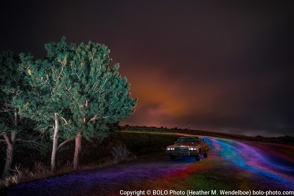 April Under a Tie-Dye Midnight Sky  <br /> 2019: Granite Dam Overlook in Curt Gowdy State Park, Wyoming  <br /> $ 388 Original Aluminum Gallery Print 24x36 <br /> $ 71 Limited Edition of 11 Kodak Endura Metallic Photographic Prints (8x12)