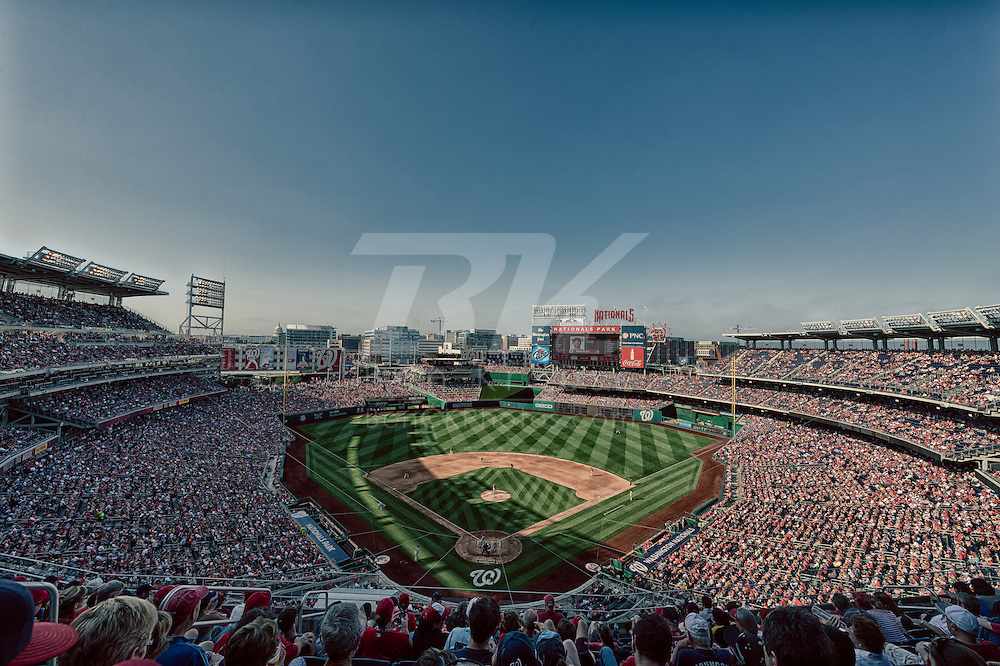 [Note:  This photo was created by combining multiple exposures into a high dynamic range photo during post-processing.]  A general view of Nationals Park during a game between the Minnesota Twins and Washington Nationals on June 8, 2013 in Washington DC, Maryland. Photo: Ben Krause