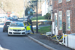 © Licensed to London News Pictures. 14/02/2019. St Pauls Cray, A man is being hunted by police after he fled the scene of an RTC, police were called at 8.55am to reports of a car in collision with a house on Main Road, St Pauls Cray, Orpington.<br />  Local witnesses are saying the male suspect was driving his girlfriends car after an argument with her, he was also believed to have been under the influence of alcohol.  A structural engineer has inspected the property which now has a hole in the wall next to the front door, the front fence has also been distroyed.  Photo credit: Grant Falvey/LNP
