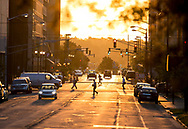 Workers walk to their offices on Friday morning, as seen looking east on Jefferson Boulevard in downtown South Bend.