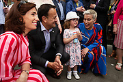 117/05/2019 repro Free:   Lauryn Ruffley posed with   MEP Candidate Maria Walsh, Taoiseach Leo Varadkar and Hildegarde Naughton TD  in Galway as the team canvassed the town and visited the Portershed  which celebrated it's third Birthday. Photo:Andrew Downes, Xposure