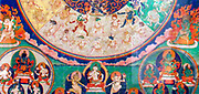 On this thanka deities gathered to look fierce apparraissent that the deceased during the bardo. 19th Mandala canvas (painting) from Tibet